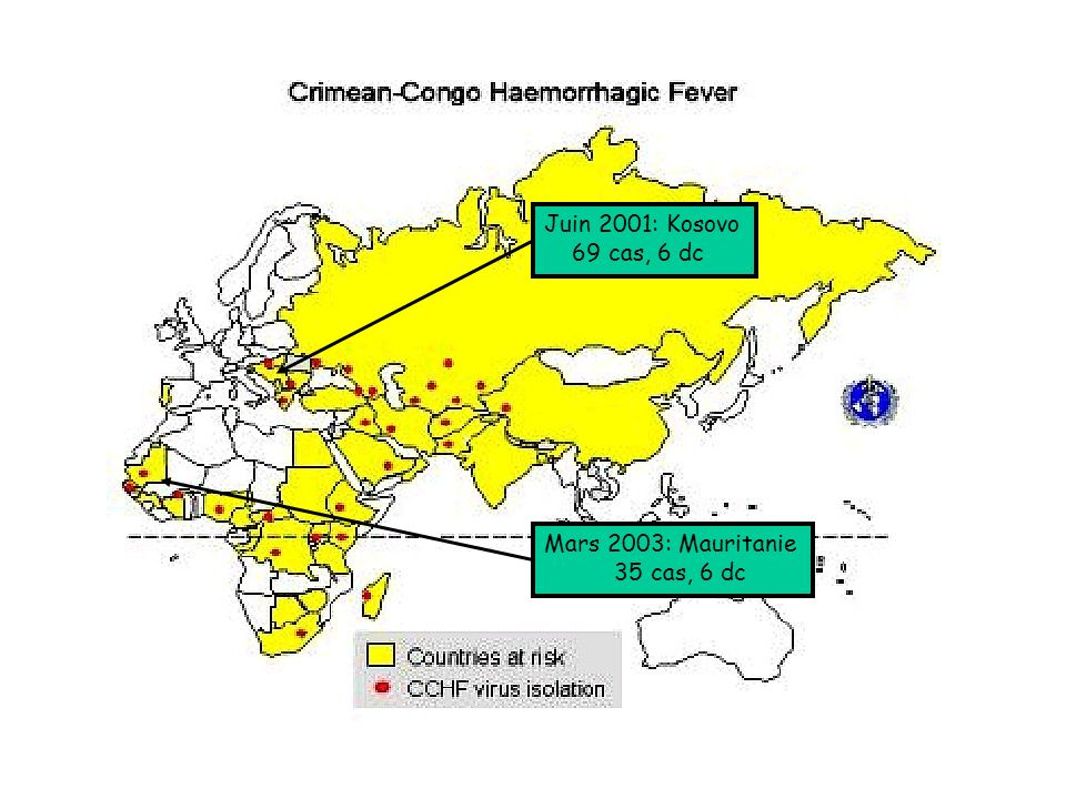Juin 2001: Kosovo 69 cas, 6 dc Mars 2003: Mauritanie 35 cas, 6 dc
