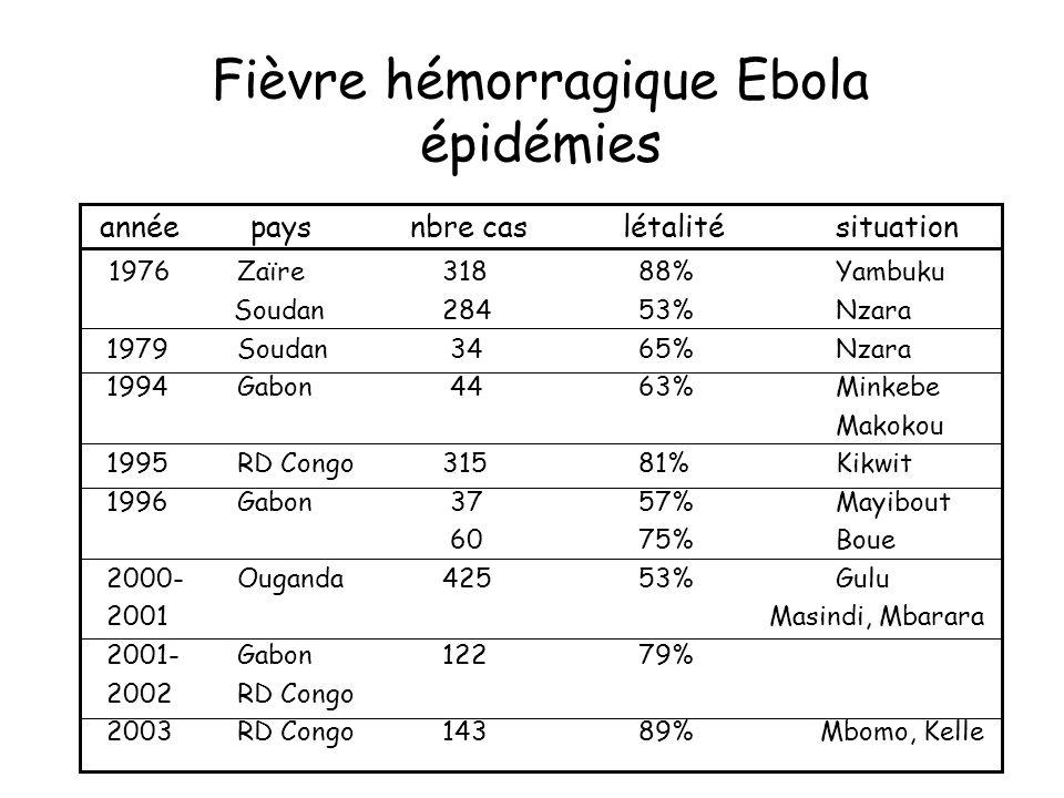 Fièvre hémorragique Ebola épidémies