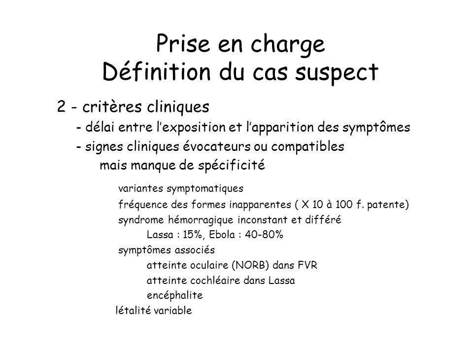 Prise en charge Définition du cas suspect
