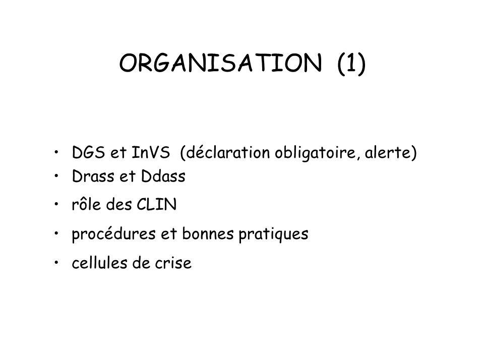 ORGANISATION (1) DGS et InVS (déclaration obligatoire, alerte)