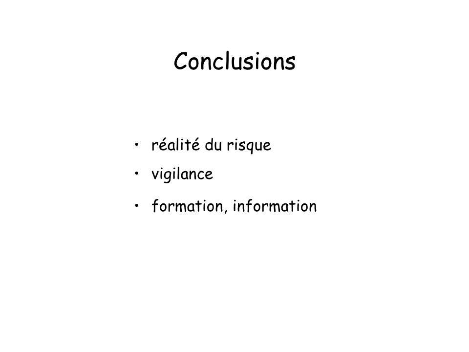 Conclusions réalité du risque vigilance formation, information