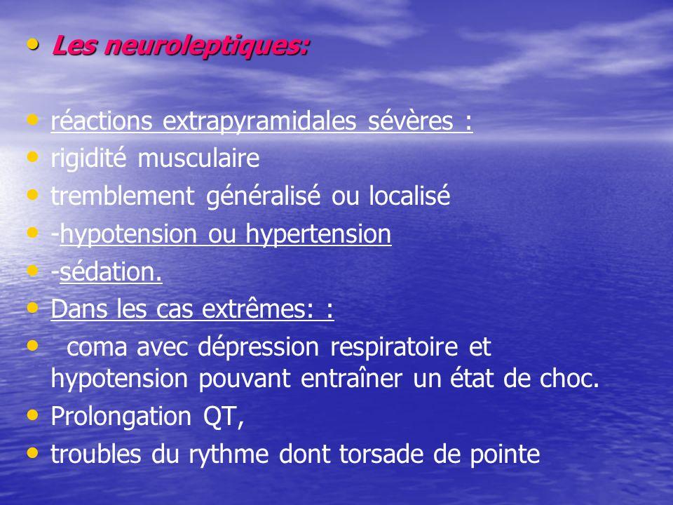 Les neuroleptiques: réactions extrapyramidales sévères : rigidité musculaire. tremblement généralisé ou localisé.