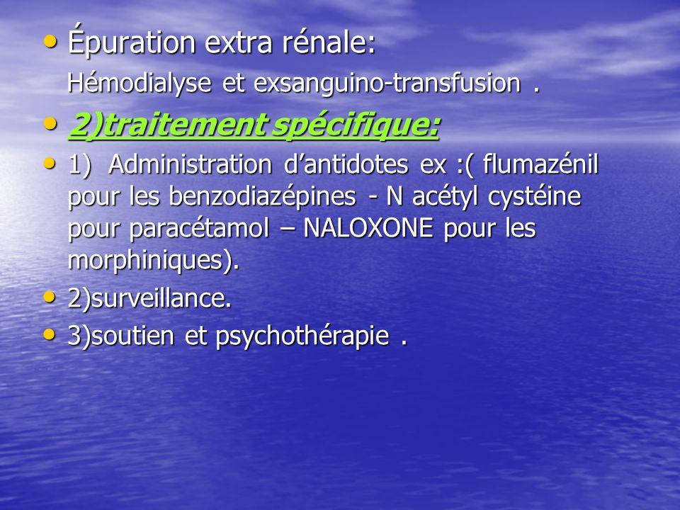 Épuration extra rénale: 2)traitement spécifique: