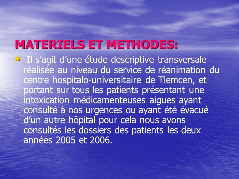 MATERIELS ET METHODES: