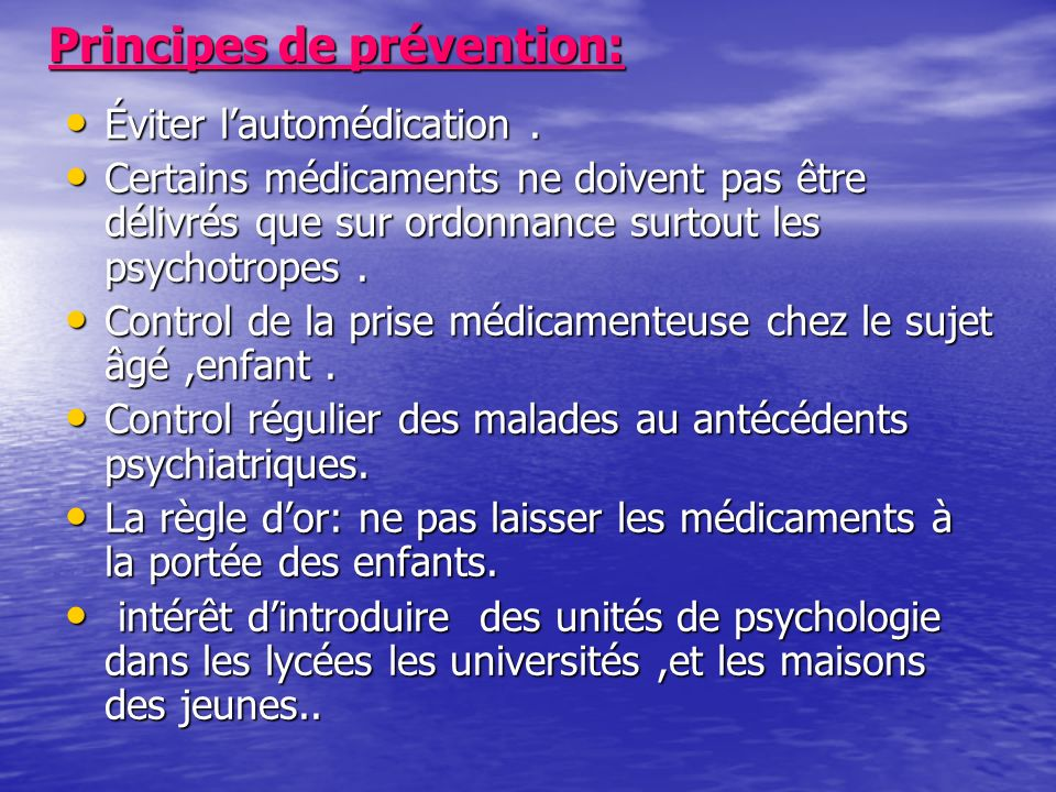 Principes de prévention: