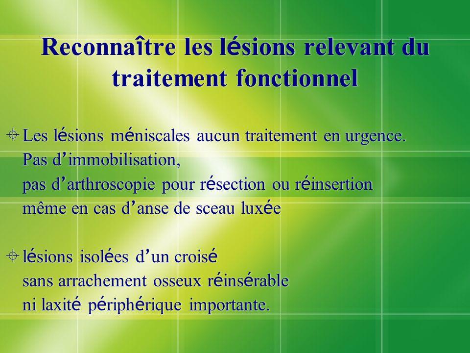 Reconnaître les lésions relevant du traitement fonctionnel