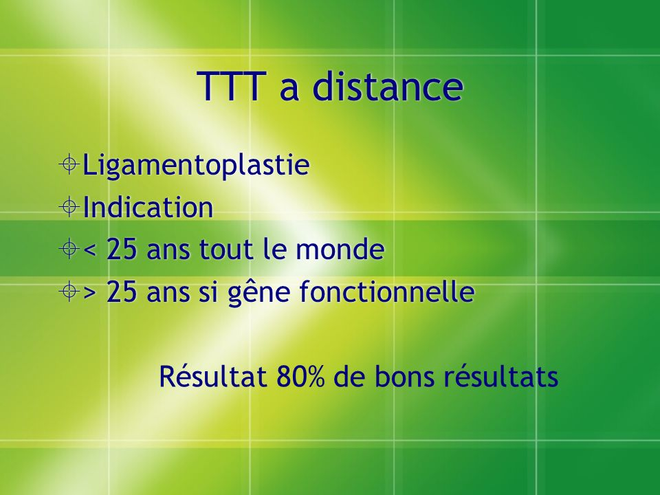 TTT a distance Ligamentoplastie Indication < 25 ans tout le monde