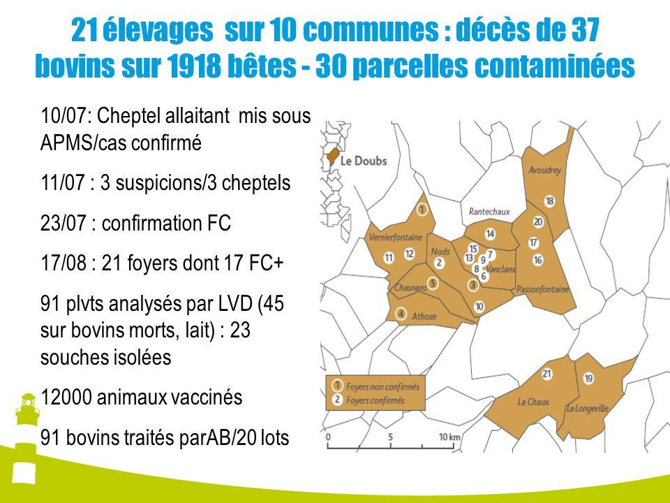 21 élevages sur 10 communes : décès de 37 bovins sur 1918 bêtes - 30 parcelles contaminées