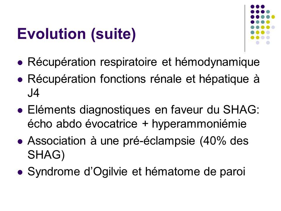 Evolution (suite) Récupération respiratoire et hémodynamique
