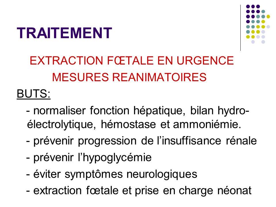 TRAITEMENT EXTRACTION FŒTALE EN URGENCE MESURES REANIMATOIRES BUTS: