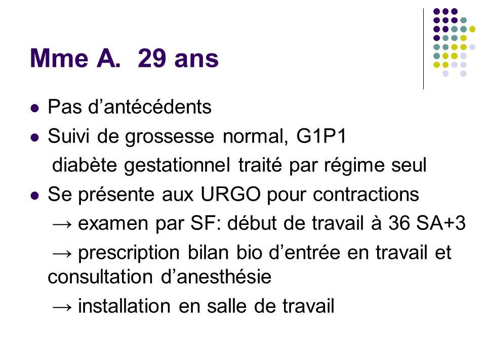Mme A. 29 ans Pas d'antécédents Suivi de grossesse normal, G1P1