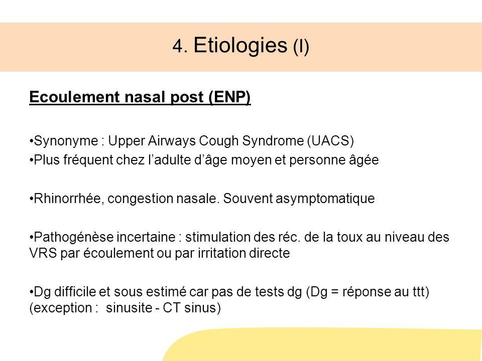 4. Etiologies (I) Ecoulement nasal post (ENP)