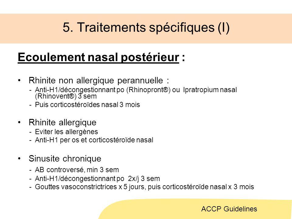 5. Traitements spécifiques (I)