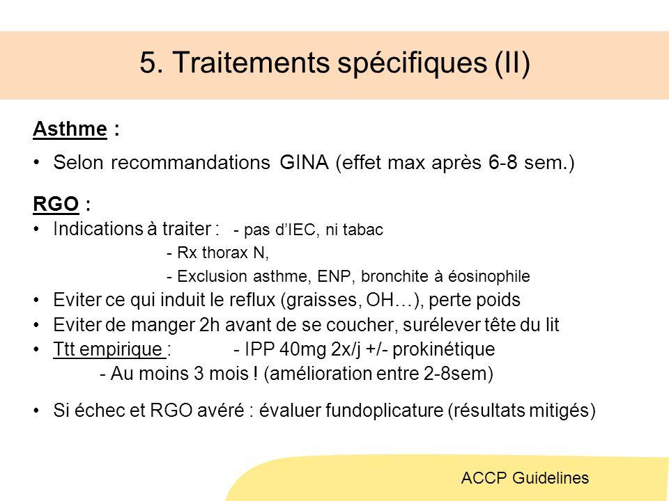 5. Traitements spécifiques (II)