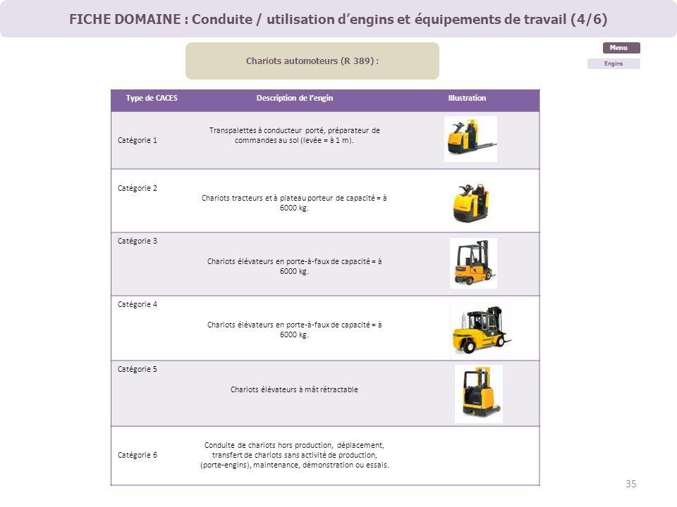 Chariots automoteurs (R 389) : Description de l'engin