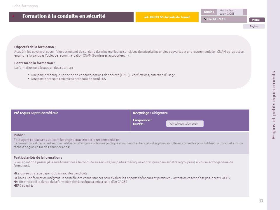 art. R4323-55 du Code du Travail Engins et petits équipements
