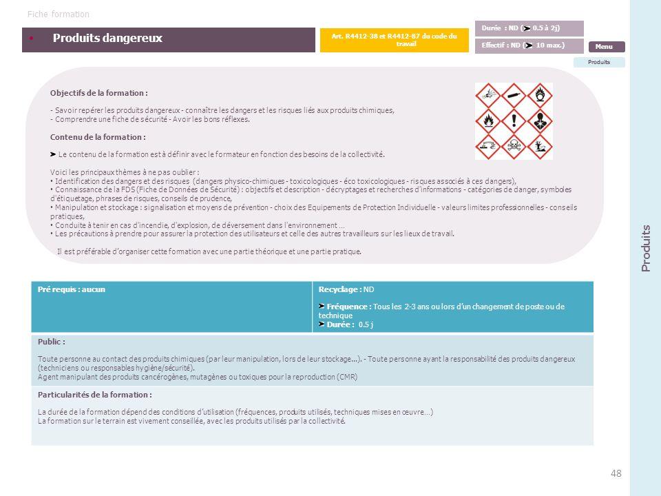 Art. R4412-38 et R4412-87 du code du travail