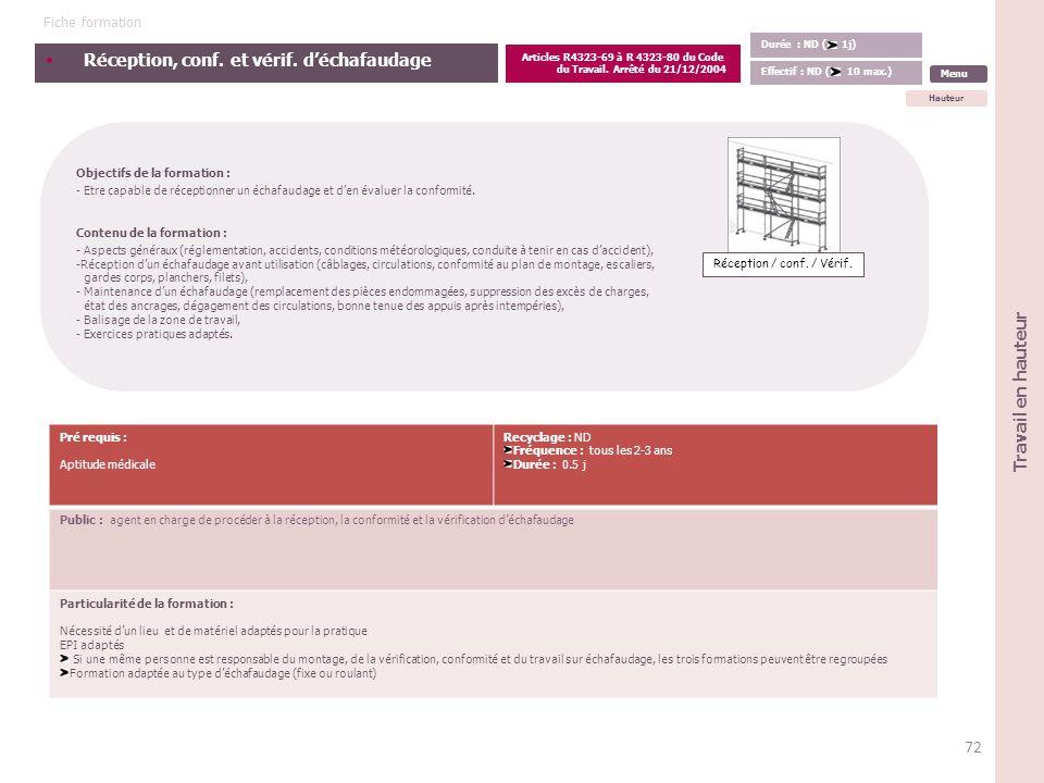 Articles R4323-69 à R 4323-80 du Code du Travail. Arrêté du 21/12/2004
