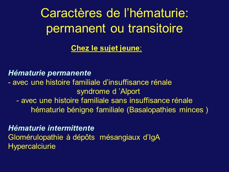 Caractères de l'hématurie: permanent ou transitoire