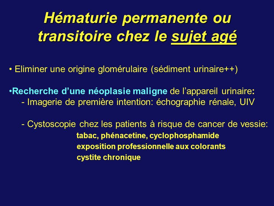 Hématurie permanente ou transitoire chez le sujet agé