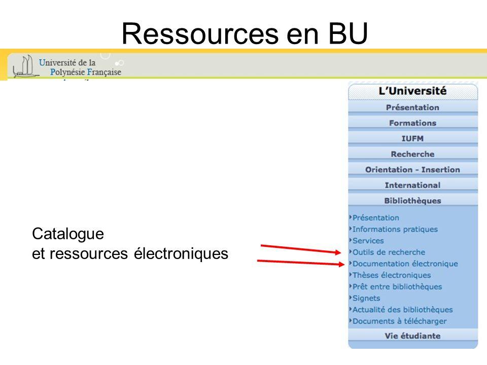 Ressources en BU Catalogue et ressources électroniques