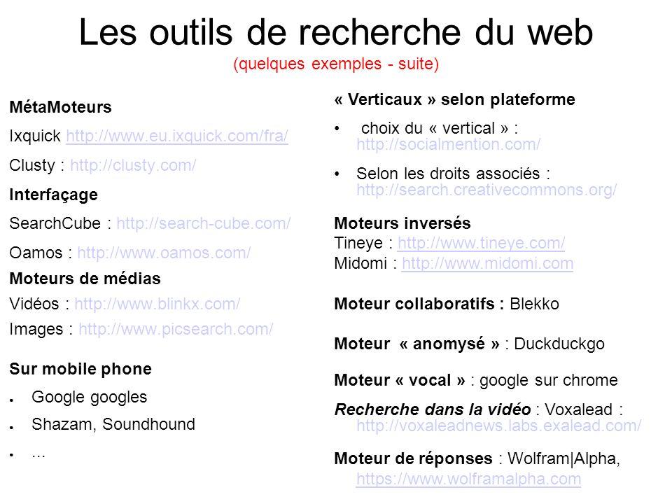 Les outils de recherche du web (quelques exemples - suite)