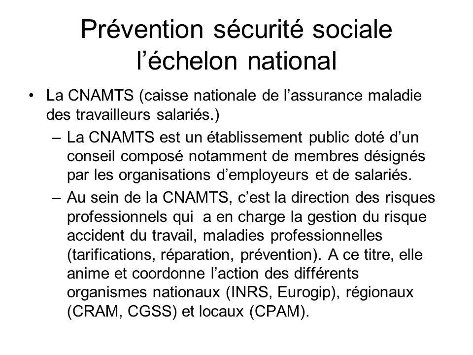 Prévention sécurité sociale l'échelon national
