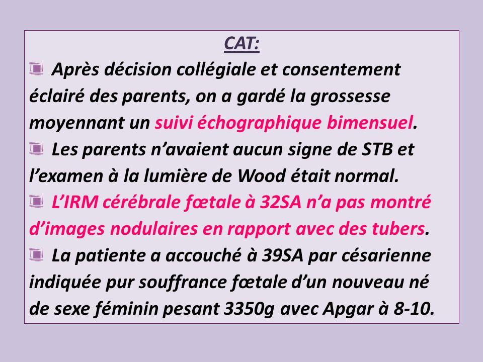 CAT: Après décision collégiale et consentement. éclairé des parents, on a gardé la grossesse. moyennant un suivi échographique bimensuel.