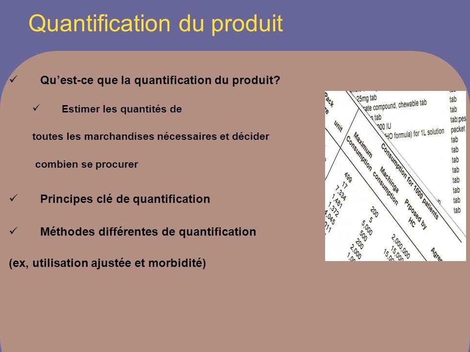 Quantification du produit