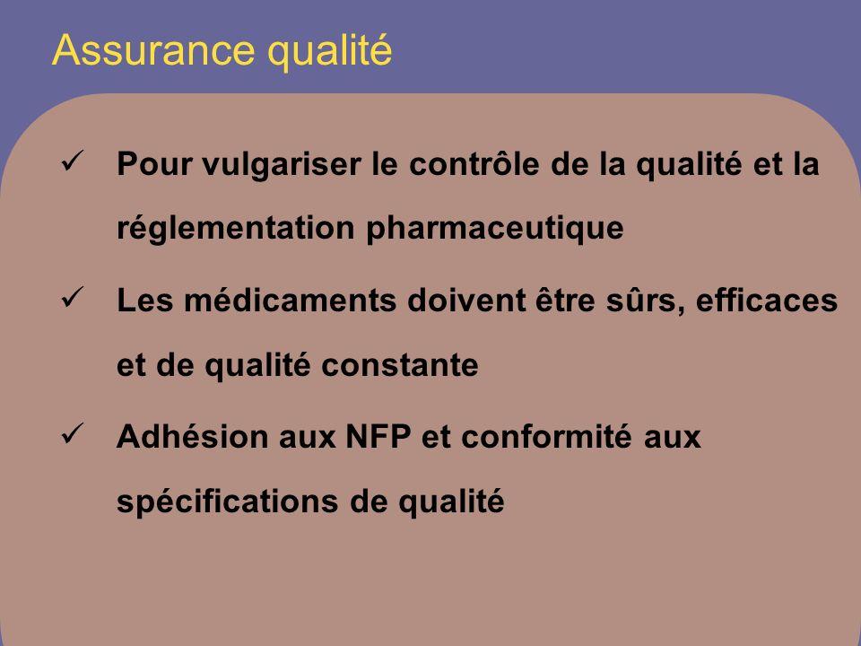 Assurance qualité Pour vulgariser le contrôle de la qualité et la réglementation pharmaceutique.