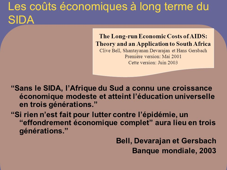 Les coûts économiques à long terme du SIDA