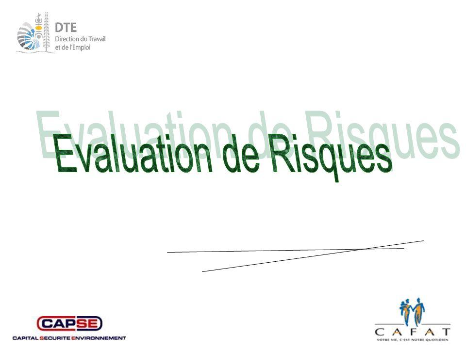 Evaluation de Risques Cette présentation est un document de travail destiné à mener une réflexion sur l 'évaluation des risques.
