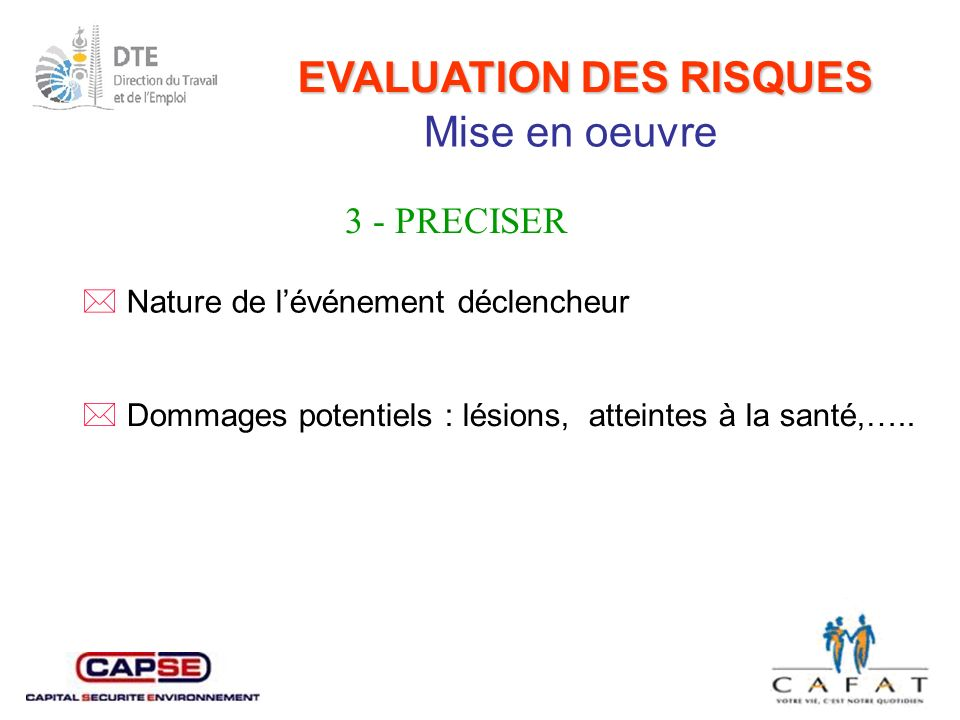 EVALUATION DES RISQUES