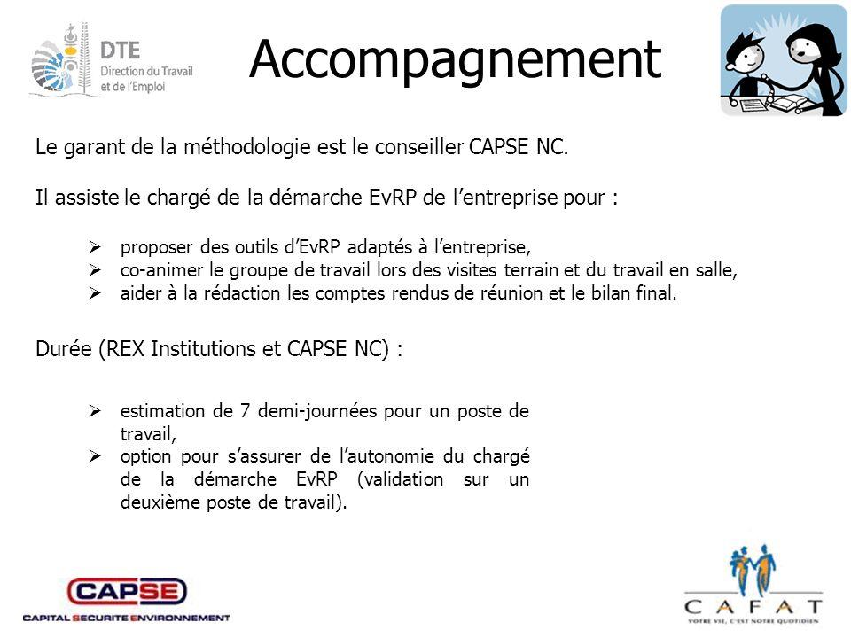 Accompagnement Le garant de la méthodologie est le conseiller CAPSE NC. Il assiste le chargé de la démarche EvRP de l'entreprise pour :