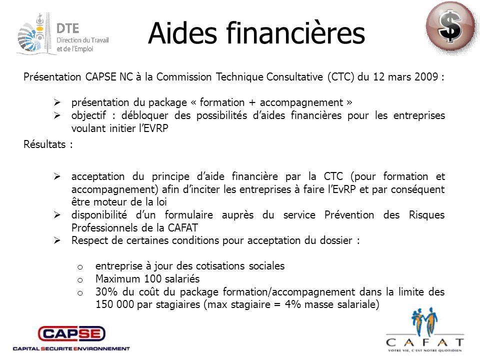 Aides financières Présentation CAPSE NC à la Commission Technique Consultative (CTC) du 12 mars 2009 :