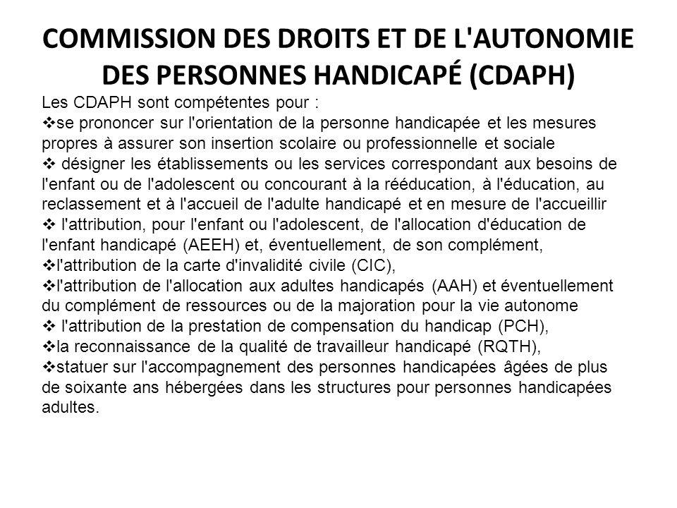 COMMISSION DES DROITS ET DE L AUTONOMIE DES PERSONNES HANDICAPÉ (CDAPH)