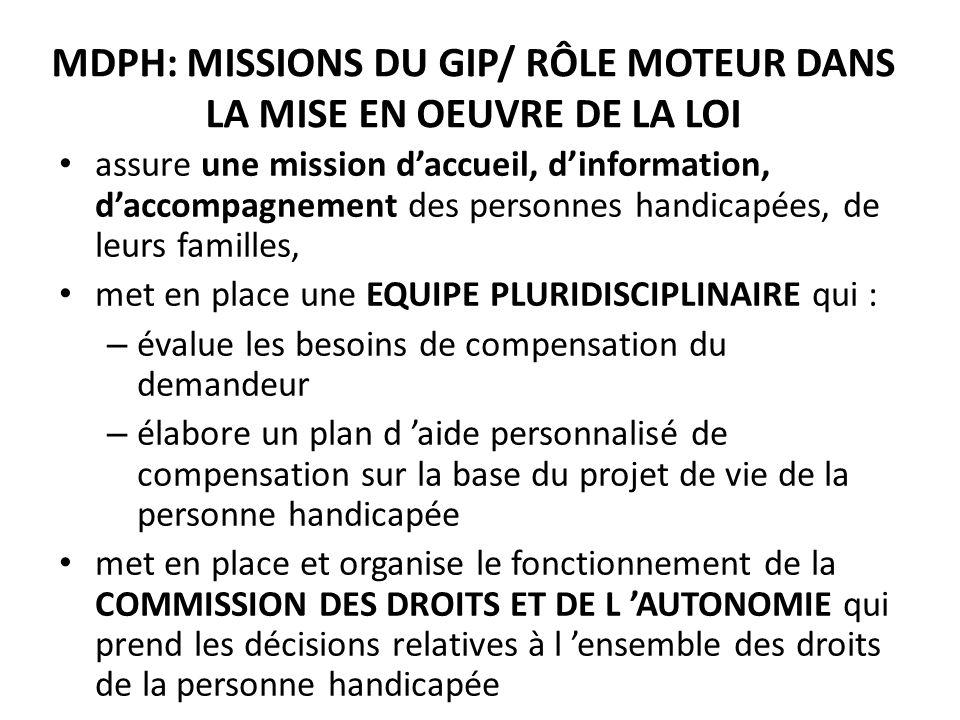 MDPH: MISSIONS DU GIP/ RÔLE MOTEUR DANS LA MISE EN OEUVRE DE LA LOI