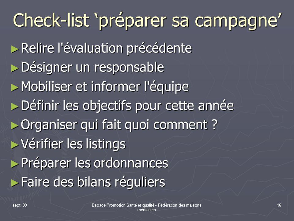 Check-list 'préparer sa campagne'