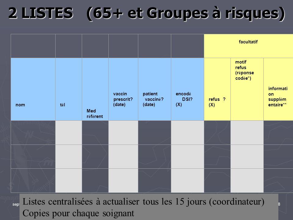 2 LISTES (65+ et Groupes à risques)
