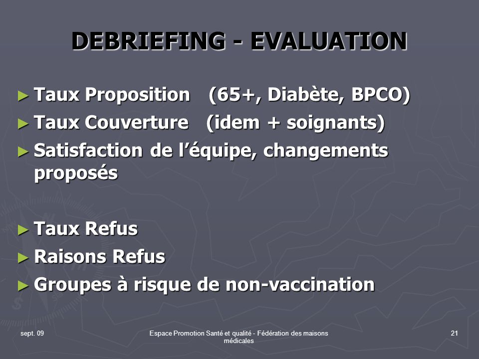 DEBRIEFING - EVALUATION