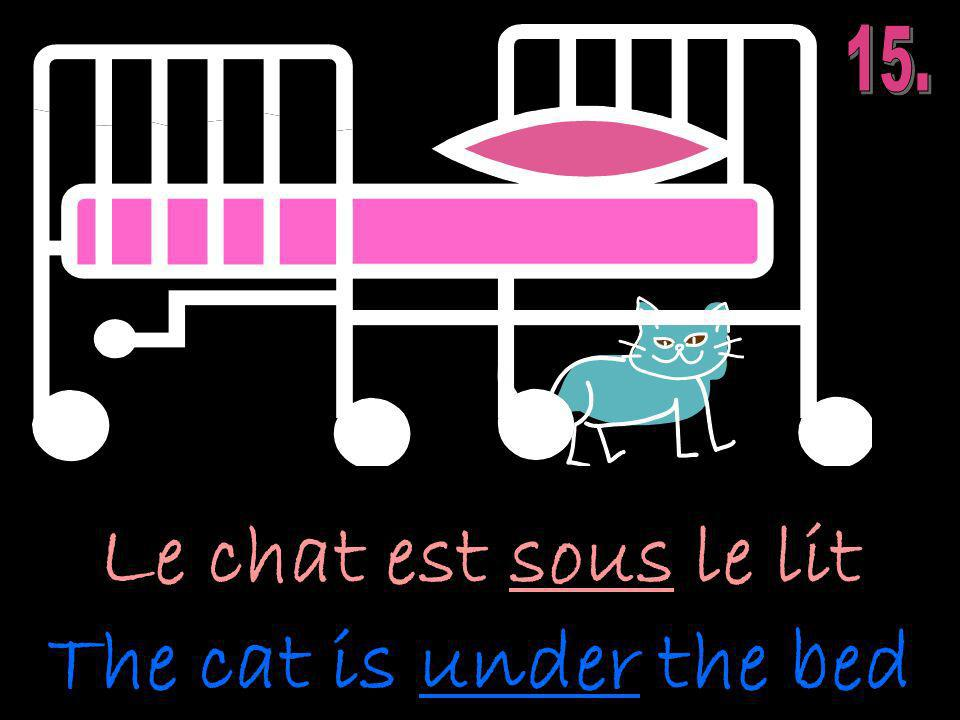 Le chat est sous le lit The cat is under the bed