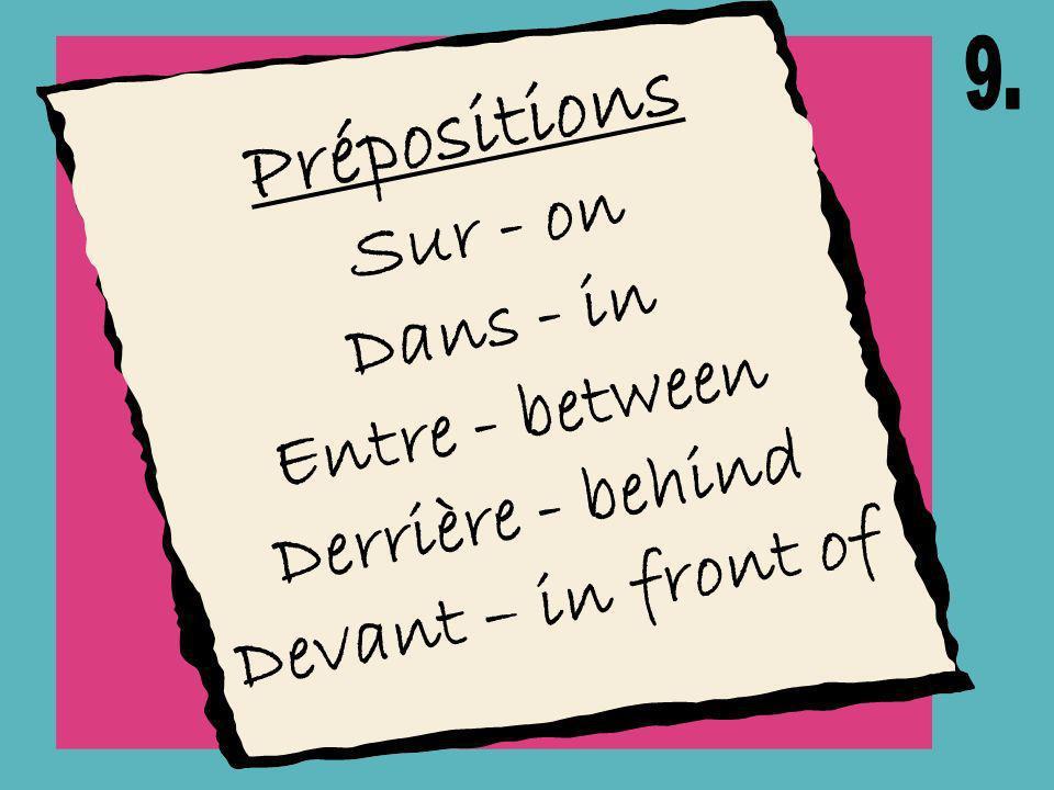 Prépositions Dans - in Entre - between Derrière - behind