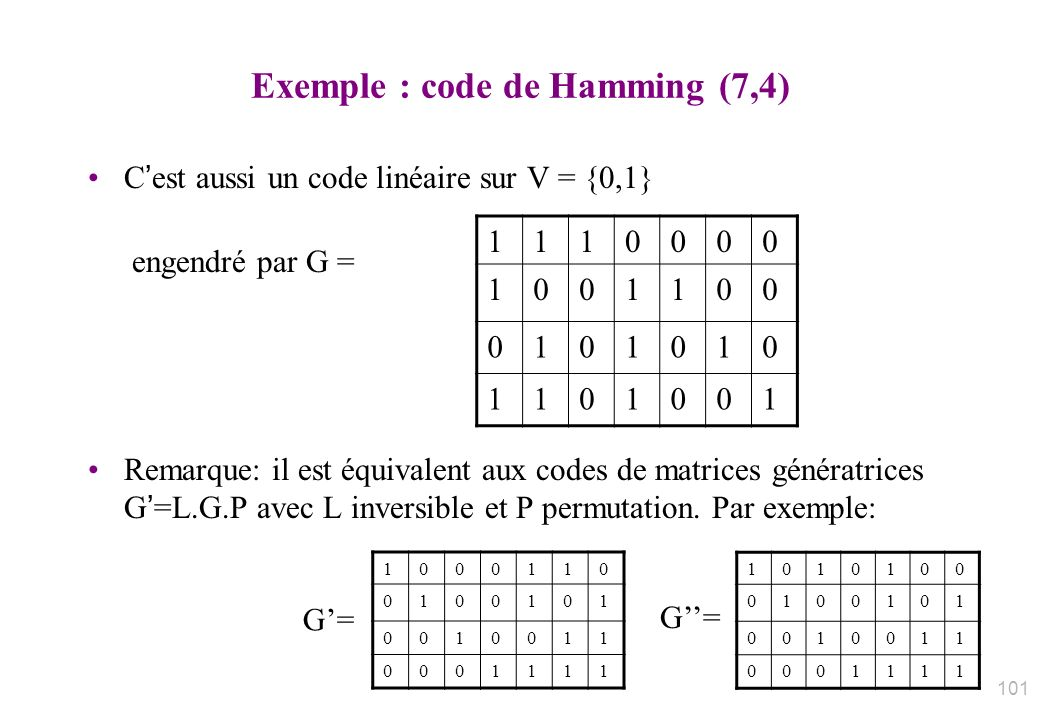 Exemple : code de Hamming (7,4)