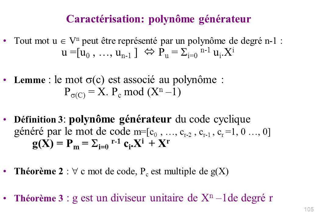 Caractérisation: polynôme générateur