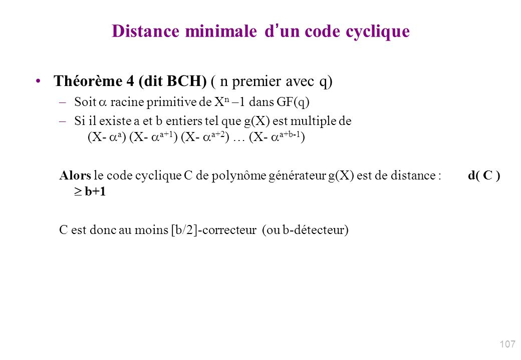 Distance minimale d'un code cyclique