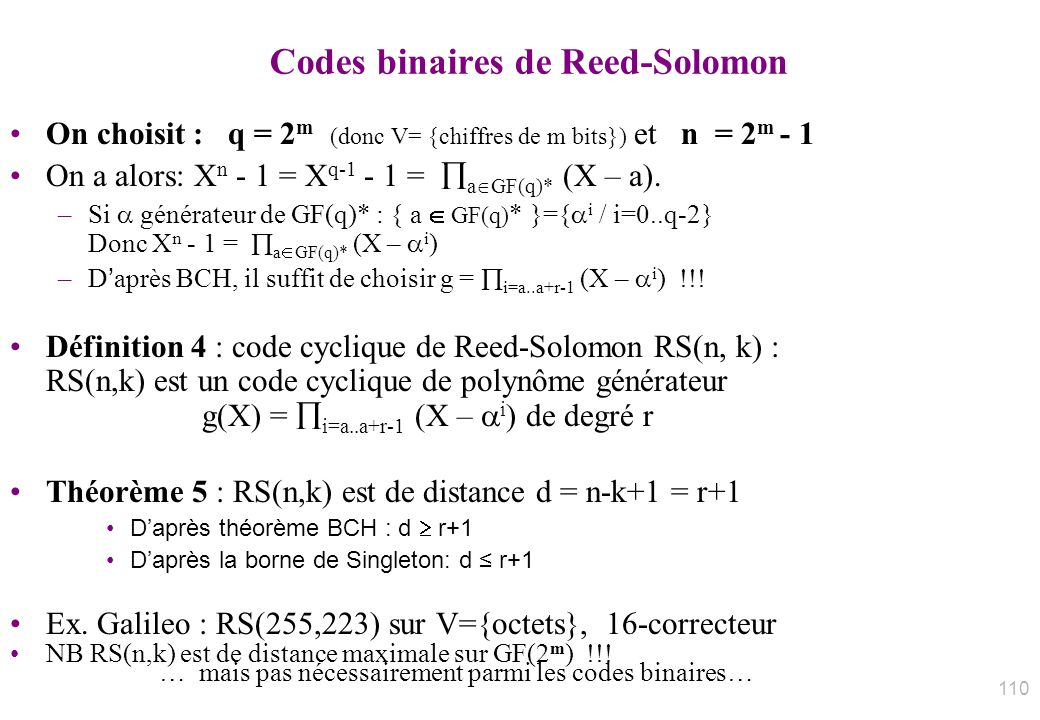 Codes binaires de Reed-Solomon