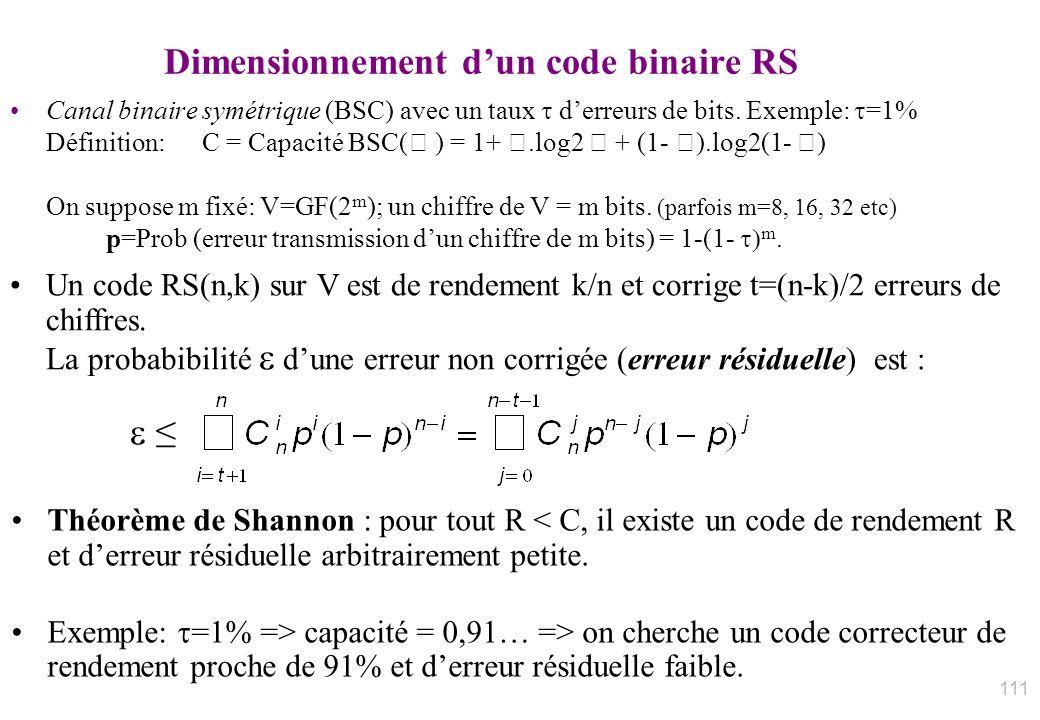 Dimensionnement d'un code binaire RS
