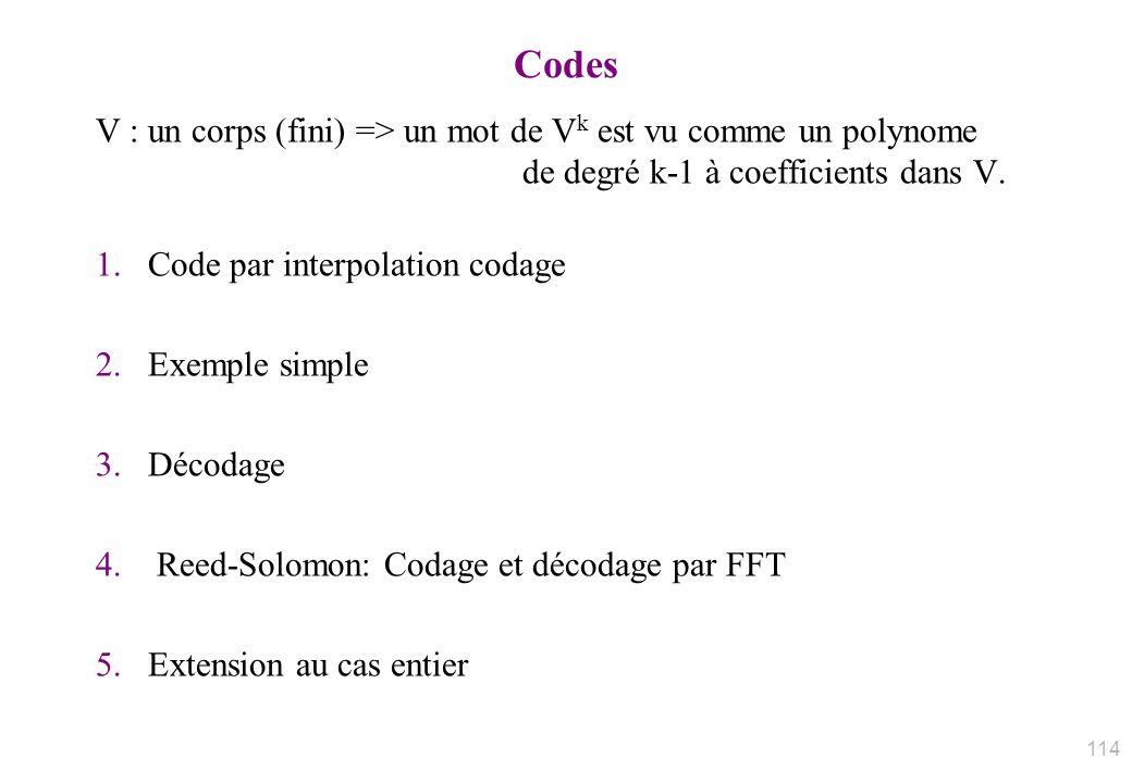 Codes V : un corps (fini) => un mot de Vk est vu comme un polynome de degré k-1 à coefficients dans V.