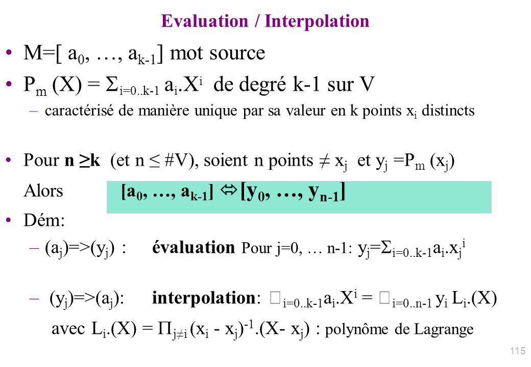 Evaluation / Interpolation