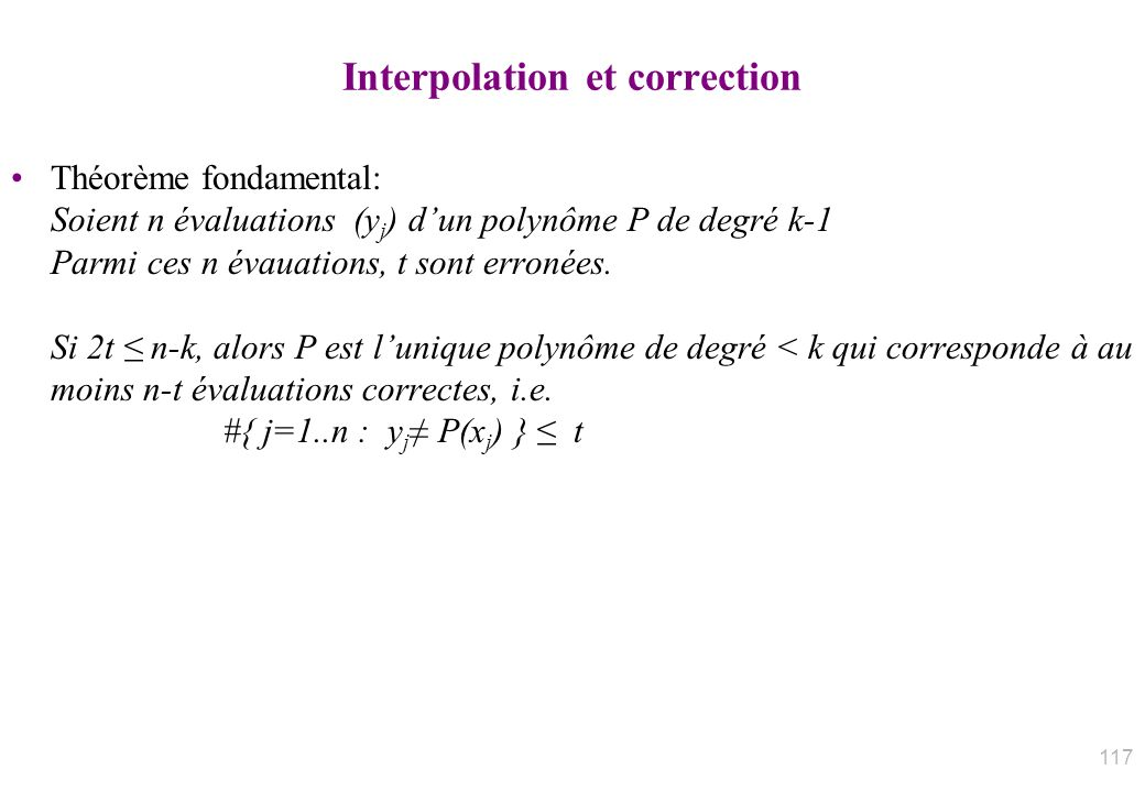 Interpolation et correction